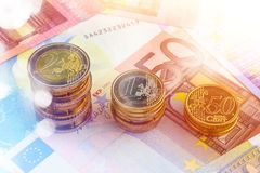 Chart Euro - Rise up. Concept Close Up Stock Photos
