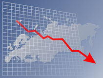Chart Europe down. Chart with downwards arrow over map of Europe Royalty Free Stock Photography