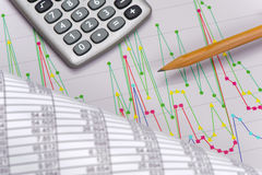 Chart of exchange market with data on table sheet Stock Photo