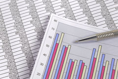 Chart of exchange market with data on table sheet Stock Images