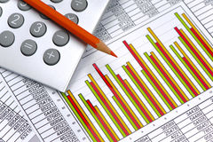 Chart of exchange market with data on table sheet Royalty Free Stock Photo