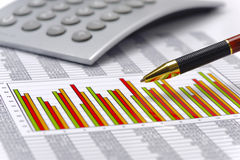 Chart of exchange market with data on table sheet Royalty Free Stock Photography