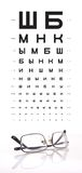 Chart and eyeglasses Royalty Free Stock Image