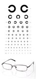 Chart and eyeglasses Royalty Free Stock Images
