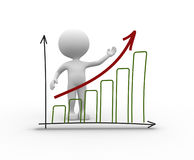 Chart financial. Success. 3d people - man, person with a chart financial. Success Royalty Free Stock Photo