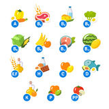 Chart of food icons and vitamin groups Royalty Free Stock Images