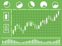 Chart with forex or stock candles graphic in thin line style. Stock Images