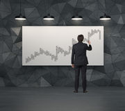 Chart in form tic tac toe on placard Stock Image