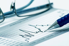 Free Chart, Glasses And Pen Stock Photos - 13421593