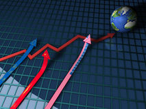 Chart with globe increasing Royalty Free Stock Photos