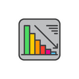Chart goes down filled outline icon, Negative dynamic vector sign Royalty Free Stock Photo