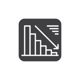 Chart goes down icon vector, filled flat sign, solid pictogram isolated on white. Negative dynamic symbol, logo illustration. Royalty Free Stock Images