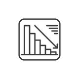 Chart goes down line icon, outline vector sign, linear style pictogram isolated on white. Negative dynamic symbol, logo illustrati. On. Editable stroke. Pixel Stock Photos