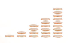 Chart of Gold Goins Showing Growth. Isolated on a White Background stock images