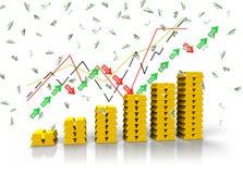 Chart of gold ingot. And flying euro bills, 3d render vector illustration