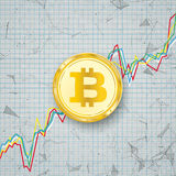 Chart Golden Bitcoin Coin Digital Network Connected Dots Stock Photography