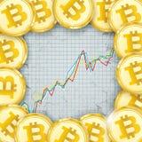 Chart Golden Bitcoins Coin Digital Connected Dots Stock Photos