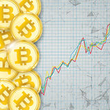 Chart Golden Bitcoins Coin Digital Connected Dots Cover Royalty Free Stock Photo