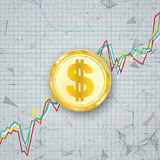 Chart Golden Dollar Coin Digital Network Connected Dots Royalty Free Stock Image