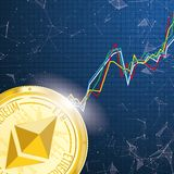 Chart Golden Ethereum Coin Data Network Connected Dots Royalty Free Stock Photos