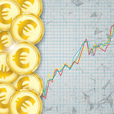 Chart Golden Euro Coin Digital Connected Dots Cover Royalty Free Stock Images