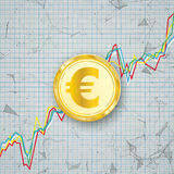 Chart Golden Euro Coin Digital Network Connected Dots Royalty Free Stock Photography