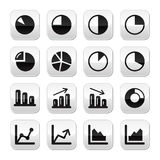 Chart graph black buttons set for infographics Stock Image