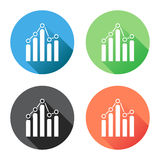 Chart graph icon with long shadow. Business flat vector illustration on blue, green, black and orange background Royalty Free Stock Images