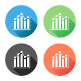 Chart graph icon with long shadow. Business flat vector illustration on blue, green, black and orange background Royalty Free Stock Image