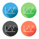 Chart graph icon with long shadow. Business flat vector illustration on blue, green, black and orange background Royalty Free Stock Photos
