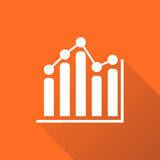 Chart graph icon with long shadow. Business flat vector illustration on orange background Stock Photo