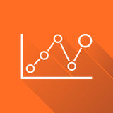 Chart graph icon with long shadow. Business flat vector illustration on orange background Royalty Free Stock Images