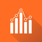 Chart graph icon with long shadow. Business flat vector illustration on orange background Stock Photography