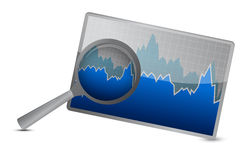 Chart or graph stock market under magnify review Royalty Free Stock Image