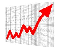Chart graph success increase. A red arrow on grid background Royalty Free Stock Photography