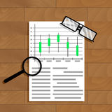 Chart and graphic. Research document data, vector illustration Stock Photography