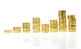 Chart with growing stacks of coins Royalty Free Stock Image