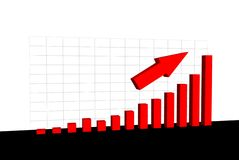Chart with growing values and an arrow Royalty Free Stock Photos