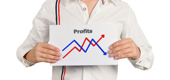 Chart of growth. Businessman holding a chart of growth Stock Photo
