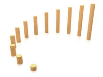 Chart of growth. 3d chart of growth from wooden cylinders on white background Royalty Free Stock Image