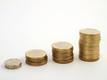 Chart the growth of the coins Royalty Free Stock Images