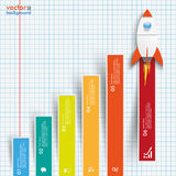 Chart Growth Colored Bars Rocket Checked Paper Royalty Free Stock Photos