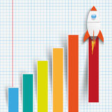 Chart Growth Colored Bars Rocket Checked Paper Royalty Free Stock Image