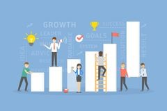 Chart growth concept. People building and working the success Royalty Free Stock Photos