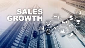 Chart growth concept. Sales increase, marketing strategy. Double exposure with business graph. Chart growth concept. Sales increase, marketing strategy. Double royalty free illustration