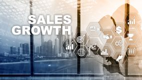 Chart growth concept. Sales increase, marketing strategy. Double exposure with business graph. Chart growth concept. Sales increase, marketing strategy. Double stock illustration