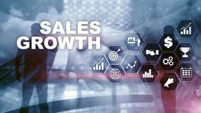 Chart growth concept. Sales increase, marketing strategy. Double exposure with business graph stock photos