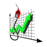Chart of growth fuel prices with gas pump nozzle Royalty Free Stock Images