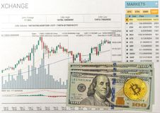 Chart growth rate bitcoin. And real money Royalty Free Stock Photo