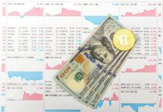 Chart growth rate bitcoin. And real money Stock Images